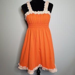 Lauren James - Orange Ruffle Trim Mini Dress